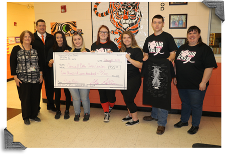 Humansville High School students with a large donation check for the CJBCC
